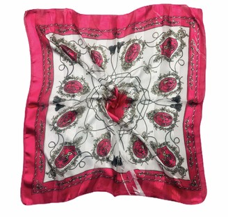 Kiran Fashion Big Square Satin Paisley Ethnic Print Scarf Neckerchief (Pink Paisley)