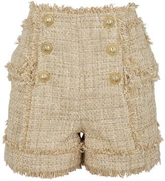 Balmain Cream metallic-weave tweed shorts
