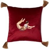 Melody Rose London Trapeze Boy Velvet Cushion Deep Berry Red