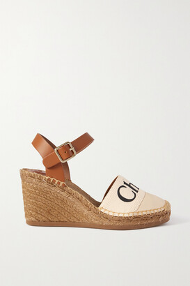 Chloé Woody Leather And Logo-print Canvas Espadrille Wedges