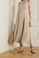 Thumbnail for your product : Vince Cutout Crepe Halterneck Midi Dress - Cream