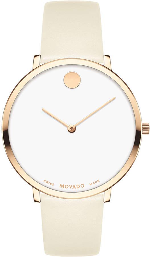 Movado Ultra Slim Leather Watch, Carnation/White