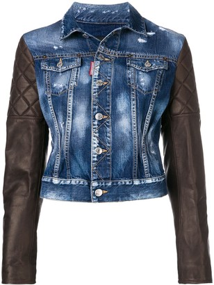 DSQUARED2 Leather Sleeve Denim Jacket