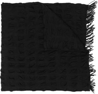 Yohji Yamamoto Knitted Frayed-Trim Scarf