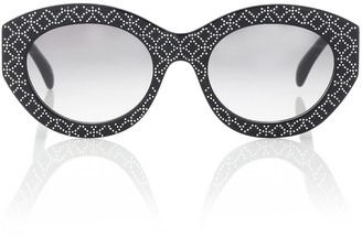 Alaia Embellished oval sunglasses