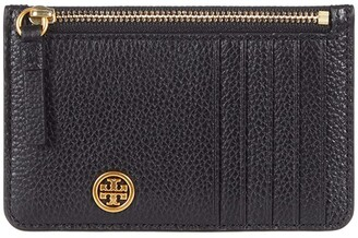 Tory Burch Walker Top Zip Card Case (Black) Handbags