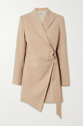 ANNA QUAN - Valentina Linen-blend Wrap Mini Dress - Sand