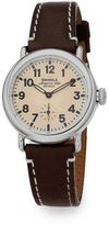 Shinola Runwell Stainless Steel & Leather Strap Watch/Dark Brown