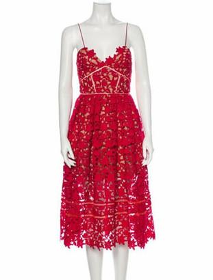 Self-Portrait Lace Pattern Midi Length Dress Red