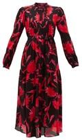 Saloni Remi Carnation-print Silk Midi Dress - Womens - Black Pink