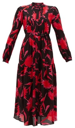 Saloni Remi Carnation-print Silk Midi Dress - Black Pink