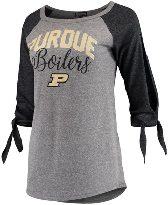Women's Gray Purdue Boilermakers Out 'n About Tie Tri-Blend Raglan 3/4-Sleeve T-Shirt