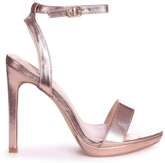 Linzi HIGHER LOVE - Rose Gold Open Back Barely There Stiletto Sandal