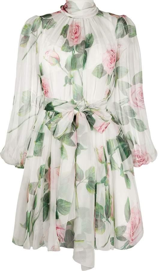 Dolce & Gabbana Rose-Print Chiffon Dress
