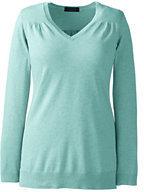 Classic Women's Plus Size Supima Shirred V-neck Tunic Sweater-Aqua Green Heather