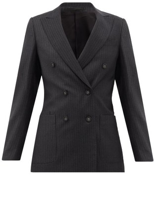 Officine Generale Manon Double-breasted Pinstriped Wool Jacket - Womens - Grey