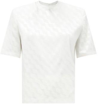 ATTICO Padded-shoulder Logo-jacquard T-shirt - White