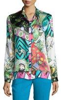 Etro Arcade-Print Charmeuse Boxy Shirt, Green