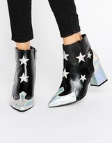 Daisy Street Star Print Heeled Ankle Boots