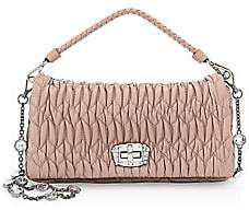 Miu Miu Women's Crystal-Embellished Leather Double Strap Shoulder Bag
