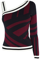 Karen Millen Mixed Stripe One Shoulder Top, Aubergine/Navy