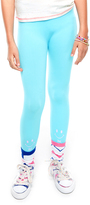 LittleMissMatched Bachelor's Button Blue 'Hi Bye' Leggings - Girls