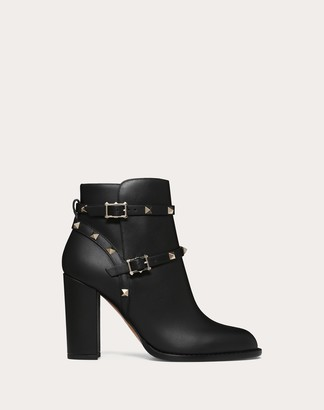 Valentino Rockstud Ankle Boot 100 Mm Women Black Calfskin 100% 38.5