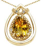Tommaso design Studio Tommaso Design Pear Shape 8x6mm Genuine Citrine and Diamond Pendant 14k