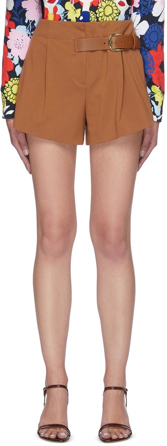 Alice + Olivia 'Adeline' Side Belt Detail Pleated Shorts