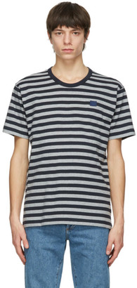 Acne Studios Navy and Grey Striped Nash Patch T-Shirt