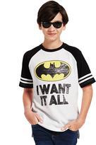 Batman Big Boys' Short Sleeve Hi-Low Raglan Tee