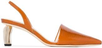 REJINA PYO Conie 60 lizard-effect patent leather pumps