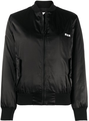 MSGM Logo-Print Bomber Jacket