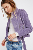 Blank NYC Womens OLIVE JUICE SUEDE JKT