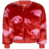 Kenzo KidsGirls Red Faux Fur Eye Jacket