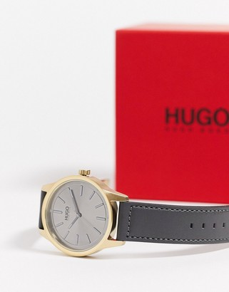 HUGO BOSS dare watch in grey leather