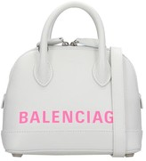 Balenciaga Ville Top Handl Tote In White Leather
