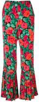 Gucci rose print flared trousers
