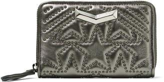 Jimmy Choo LEA Dark Anthracite Star Matelasse Nappa Leather Wallet