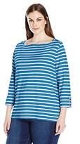 Rafaella Women's Petite Size Boatneck Stripe Tee with Trim Details