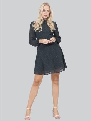 M&Co Izabel polka dot long sleeve skater dress