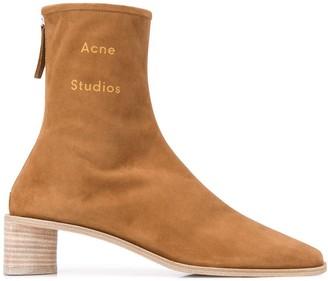 Acne Studios Branded Square Toe Boots
