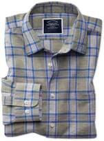 Charles Tyrwhitt Classic Fit Cotton Linen Khaki Check Casual Shirt Single Cuff Size Large