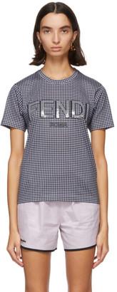 Fendi Grey and Navy Gingham Logo T-Shirt