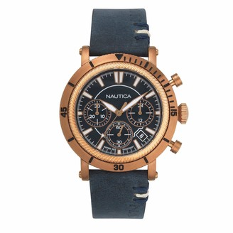 Nautica Men's Fairmont Chrono Stainless Steel Japanese-Quartz Leather Strap Blue 22 Casual Watch (Model: NAPFMT004