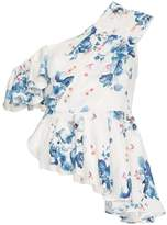Off-White x Browns floral print off-shoulder asymmetric ruffle top