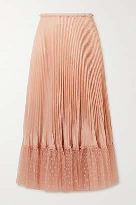 RED Valentino Pleated Point Desprit Tulle-trimmed Satin Midi Skirt - Blush