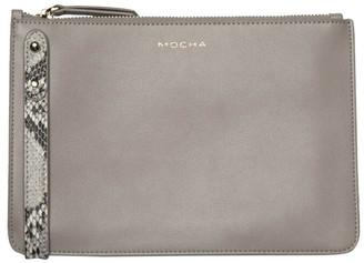 Mocha Cara Snake Embossed Leather Clutch -