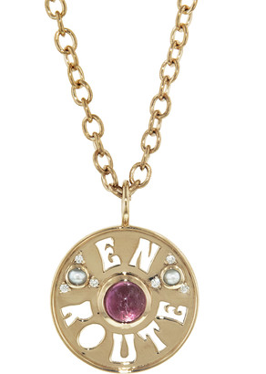 Marlo Laz Pink Tourmaline and Pearl En Route Coin Necklace - Yellow Gold