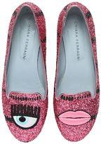 Chiara Ferragni 10mm Eye & Lips Glitter Loafers
